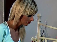 Fuckable doctor sticks gynecological speculum into elastic pussy of salty patient before she starts washing her cuddly body with foam in sultry lesbians sex video by DDF Network.