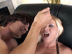 Blonde bomshell with huge tits gets her pussy fucked hard and deep in this wild hardcore sex scene. Well hung stud bangs her in all positions and she swallows his big cock!