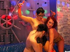 Three sex greedy lesbians get into mini pool where they dance rubbing their steamy bodies over each other while kissing in lips in group sex orgy by Tainster.