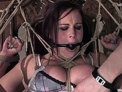 Some girls go beyond the borders. Bella Rossi and Claire Adams are the ones, who love it in pain. Well, the scene is full of bondaged, gagging and electrode wires.