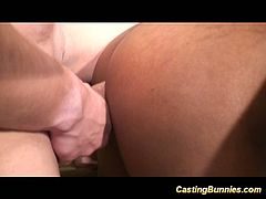 This sexy black bunny with big tits takes cock in all her holes. She has a threesome for her casting.