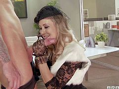 Pretty blonde Brandy Love with natural boobs and slim body in hot pants and white undies gives head to Ash Hollywood with meaty cannon in pov and gets pounded from behind