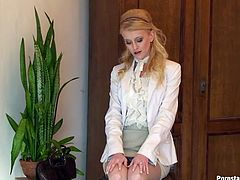Dirty-minded tall and slim blondie in white blouse, jacket and skirt throws away her bag. Ardent nympho bends over the chair to demonstrate her nice ass. Then kinky chick in pantyhose gets ready to masturbate a bit to gain her portion of pleasure at once.