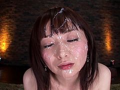 The guys will jerk off watching the kinky Asian Hana Nonoka masturbating with sex toys and then leave a bukkake on her.