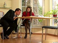 Cuddly brunette manager is having an individual consultation with her client, who gets aroused with her smell and tasty forms by the end of it and starts mauling her tits rapaciously in sizzling hot sex video by Tainster.
