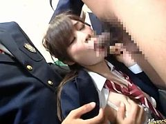 Poor Japanese teen in school uniform gets fingered by many guys. After that she sucks dicks and gets fucked many times in a row.