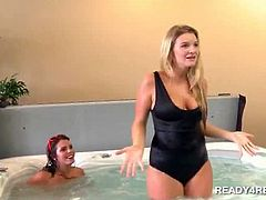 Blonde amateur joins wild couple in a jacuzzi threesome for hard cash