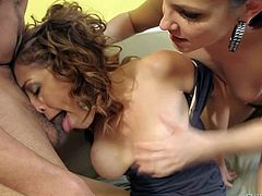 Wild cock addicted pretty Bobbi Star and Audrey Rose with big firm hooters and smoking hot bodies get ass fucked hard by muscled stud with long rock hard cock