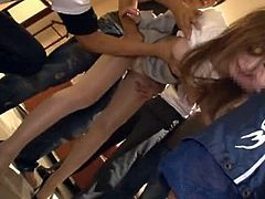 Hot Japanese office girl Karen Fujiki is playing dirty games with a few men indoors. She shows them her cock-sucking skills and then the guys fuck Karen's tight vag by turns.