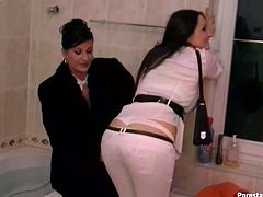 Well, these brunette haven't seen each other for a while. So curvy chicks go to the hot bathroom. Kinky nymphos in fur coats and pants don't even undress and desire to gain pleasure by rubbing each other's wet pussies. Well, dude, you'd better stop reading and just see everything with your own eyes in Tainster sex clip.