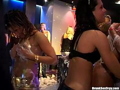 Amazing and extremely voracious gals can boast of really appetizing boobs and flossy asses. Already naked sluts transform soapy party into orgy. Torrid bitches do their best while riding strong cocks and licking wet pussies in the night club.