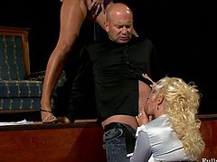 The empty theater fills with loud moans of pleasure. Two blondies forget about rehearsal. They pull up dresses, demonstrate flossy asses, play with tits. Surely their producer has now a strong desire to fuck their cunts and get a solid blowjob right away.