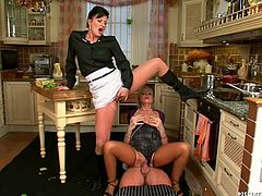 Two spoiled mature lesbians tongue fuck each other's stinky cunts in turns while getting fucked by young insatiable cook during shooting of a TV show in sultry threesome sex video by Tainster.