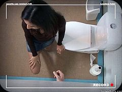 This straight haired brunette is just mesmerizing. Her body is slim and splendid. This bitch is in the public toilet. She forgets even to piss, cuz there's a stiff cock jutting of glory hole. Let's see how professional this hooker is in sucking a dick for sperm in Pack of Porn sex clip.