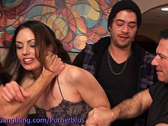 Gorgeous brunette finds herself alone with a group of horny guys ready to make her cum. They punish her, fuck her hard at the same time DP style, fuck jer mouth and what not!