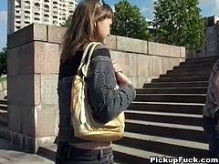 Frisky blond Russian amateur heads to the country with a dude she just met couple minutes ago in order to please him with a skillful blowjob.