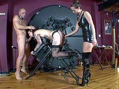 Tattooed and horny submissive slave girl gets tied up and dominated by her lovely dominatrix Francesca Jaimes in front of Nacho Vidal and enjoys in hot femdom session