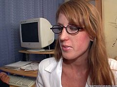 Kinky redhead in glasses is tall. Her ass is droopy. But this not pretty bitch is worth checking out in Pack of Porn sex clip. Why? Cuz horny secretary likes pleasing her male co-workers. After sucking dicks for sperm bitch gets rid of red pants to enjoy cunnilingus on the table.