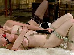Kinky Sasha Knox gets tied up and whipped by Maitresse Madeline. After that she gets fucked deep in her ass with a strap-on.