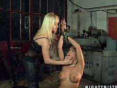 Arousing smoking hot blonde Adriana Russo with perfectly shaped firm hooters and heavy make up gets tied up and dominated by her hot ass girlfriend in sexy black outfit