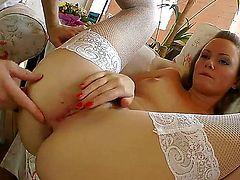 Redhead Lili Lamour and her hard dicked fuck buddy enjoy sex too much to stop