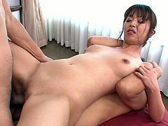 Japanese brunette gets all sweaty while teasing three dicks at once. Slim gal is surely one of the best sex experts. Ardent slut with sweet tits enjoys both riding and sucking dicks. DP will be just a great addition for gaining dozen of pleasure at once.