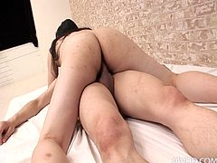 Futuristic Japanese lover Yuuka Tsubasa practices new sex positions to gain joy
