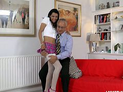 Dude, just look at this hot gal in Jim Slip sex clip. This slim nympho in short skirt and stockings has her own method to seduce an old man. Ardent girlie stretches legs wide for rubbing and tickling her cunt passionately. Gosh, I've already got a boner...