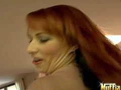 Kylie Ireland is a good looking redhead in black nylons. She shows off her big bubble ass and meaty pussy. She shows her assets and finger fucks her asshole and vagina at the same time.