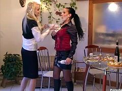 Dude, don't miss a chance to enjoy incredibly hot catfight presented in Tainster sex clip. Kinky brunette is the way too rude. Blond waitress can't restrain herself and throw a cake into a naughty black haired bitch. Both slim chicks start fighting furiously right on the floor. They grab necks tough, pull hair rough and scream like mad.