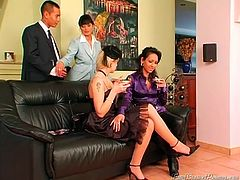 Three mesmerizing girlies with nice tits and flossy asses are a bit tipsy. These chicks are fed up with chatting. So sluts thirst to eat and tickle each other's wet pussies. But suddenly a horny dude joins them to polish their cunts right on the couch. Dude, if you're seeking for pleasure, this Tainster sex clip is surely what you need.