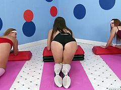 All the girls are playing some kinda sport and the best performed girl will be offered a huge cock to suck. It comes out that Kiera has done the best. Without any doubt she kneels down before her coach. Her coach reveals his man meat & the next thing he feel of having her lips wrapped around his cock.