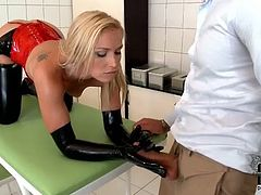 Perverse doctor makes out with hot tempered babe in sizzling hot latex lingerie and high heels. He receives a zealous blowjob before he takes her from behind in doggy style in sultry DDF Network sex video.