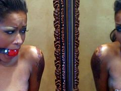 Skin Diamond is a dark skinned hot chick with small tits. Ball gagged ebony girl in black boobs plays with hitachi wand by the mirror. She parts her legs and masturbates with her vibrator.