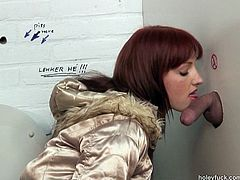 As soon as slim brunette sees a dick jutting out of the glory hole in the toilet, spoiled gal desires to give a solid blowjob. Slender hottie with sweet tits rubs her pussy, then bends over to be poked from behind. Just check her out in Pack of Porn sex clip, cuz you'll jizz at once.