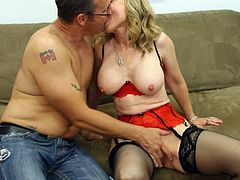 Blonde wife gets nailed hard while hubby is watching her undulating that shaved cunt