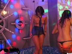 Four perverse young sluts gets into the pool right in clothes in order to rub their steamy bodies over each other in sultry sex video by Tainster.