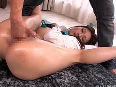 This amazing and filthy whore is so fucking gorgeous! She gets naked with two old farts and then make her feel so fucking high, playing with her wet muff!
