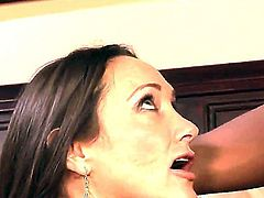 Pretty handsome brunette Michelle Lay got her pussy pleased with hot cunilingus from Rocco Reed and then thanked him with deep blowjob.