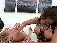 Mature amateur lesbian couple Adriana and Deville fisting then fucking each other using sex toys in their ass.