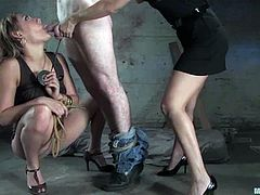 This guy will get a reward from getting strapon fucked by these two girls in a bondage session, that is fucking their cunts and getting head.