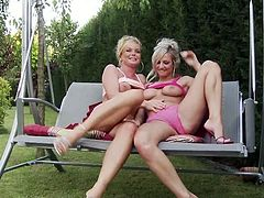 Two mesmerizing slender blondies sit on the bench. What's for to waste time on talking? Ardent chicks boast of smooth rounded asses, play with tits and desire to eat each other right outdoors. Just press play and enjoy incredibly hot Fame Digital sex clip.