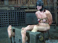 Check out this super hot bondage action in the dungeon. This redheaded slut got punished for the filthy whore she is!