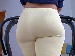 Remy Lacroix is a charming brown haired breathtaker with beautiful smile and amazing big ass. She shows off her sexy big booty without taking off her skin tight leggings. Her butt is amazing!