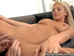 Bree Olson is s charming young blondie that bares it all and spreads her legs wide in front of Jack Benice. He just cant keep his lips off her neat hairless pussy. Her snatch tastes delicious!