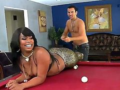 Playing pool is what ebony darling Vanessa Monet loves to do but in this video you can see her showing off her bouncy black booty to this well hung white dude.