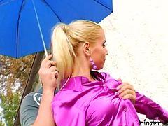 Jaw dropping blond babe Julie is controlling the work performed by lawboys, however they have their own plans regarding her- they simply tongue fuck her tasty vagina before she starts riding one of them in reverse cowgirl style while giving blowjob and handjob to the rest of guys in steamy gangbang sex video by Tainster.