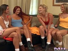 Kristen Cameron, Brianna Ray, Stephanie and one more girl enjoy in making a hot and arousing lesbian foursome sex session on the sofa in the living room and get recorded
