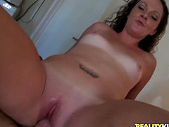 Tanned chick with white  small tits gets her pussy rammed
