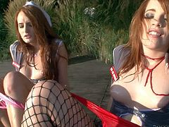 Rocco Siffredi gets his hands on two arousing lovely ladies Denisa Heaven and her friend Kristine Crystalis and plays with their shaved and wet pussies outdoor for cam